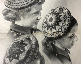 Vintage knitting pattern 1940's Patons and Baldwins 156 children's Fair Isle berets