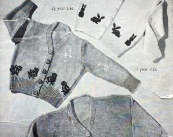 "Vintage knitting pattern 1940's Bestway A2542 children's animal image cardigan 22-24"" 3 ply"