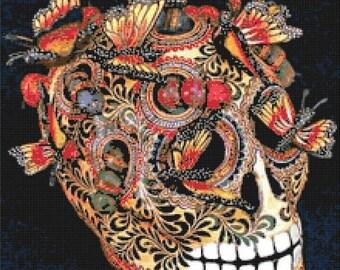 On SALE Skull on velvet - 220 x 257 stitches - Cross Stitch Pattern Pdf file chart - INSTANT Download - B985