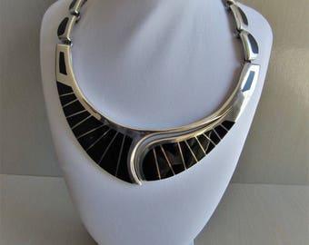 "Vintage Mexico TS-101 Artisan .950 Sterling Silver & Black Onyx 17"" Necklace 6.2 Oz./175.8 Gm."