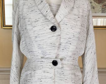 Vintage Nina Ricci 1950's Women jacket White/black summer fabric Good condition For clothing Collection Costume fashion student Film theatre