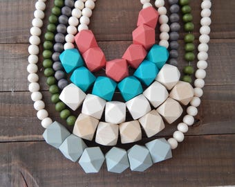 Chunky wood bead necklace, boho style necklace, beach chic, layering necklace, geometric beads, everyday wear, long necklace, handmade