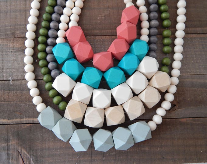 Featured listing image: Chunky wood bead necklace, boho style necklace, beach chic, layering necklace, geometric beads, everyday wear, long necklace, handmade
