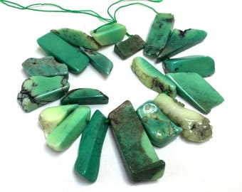"""Grass Agate top drilled free-form stick beads mint green gemstones 7.5"""" strand"""