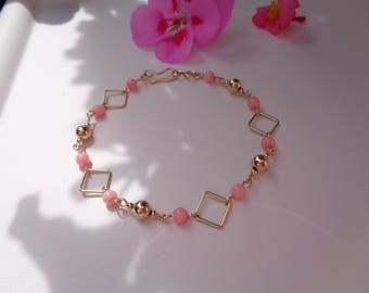 Gold Bracelet, 585 gold filled with angelic face coral, delicate design