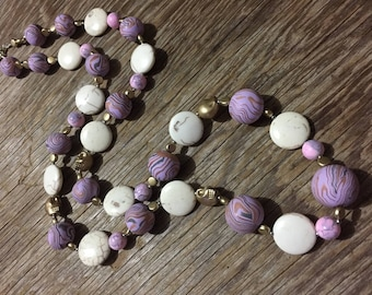 Old Gold - Bold, Unique, Handmade Mauve Statement Necklace