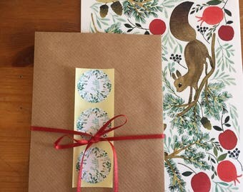 Letter set, letter writing set, with watercolour illustration of squirell, squirells on the winter tree,レターセット,イラスト,便箋