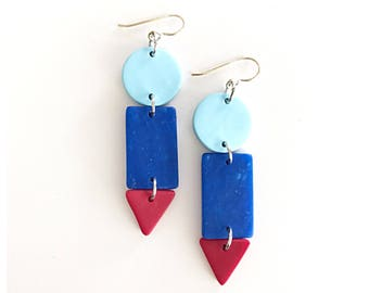 Art school earrings - handmade with polymer clay and sterling silver ear wire