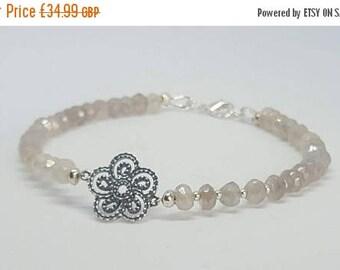 Summer sale Sterling silver bracelet - Silver coated Chalcedony bracelet- Gemstone  bracelet- Stacker bracelet- Beaded bracelet - gifts for