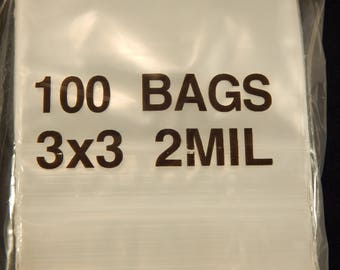 """Lot of 100 One Hundred 3"""" x 3"""" Resealable Ziplock Bags or Baggies!"""
