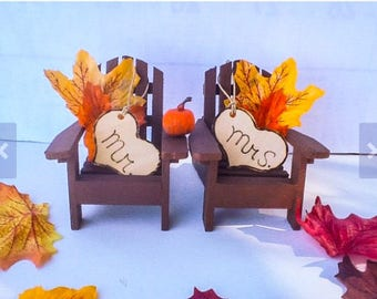 Fall Adirondack Chair Cake Topper-Fall  pumpkin chair cake topper-Autumn Cake Toppe-Rustic fall leaves cake topper-Fall wedding  cake  topp
