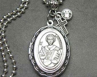 St. Lawrence Catholic Holy Medal Locket Necklace, Handmade Jewelry, Catholic Gift, Devotional Jewelry, Confirmation Gift
