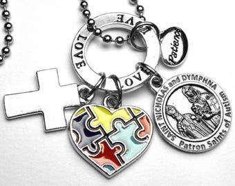 Autism Patron Saints Nicholas & Dymphna Catholic Holy Medal Charm Necklace OR Key Chain with Enamel Autism Heart, Love, Patience