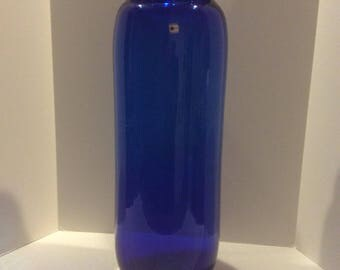Blenko Floor Vase Cobalt with Sticker Moder Glass Mid Century