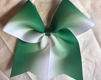 Green Ombre Bows/Ombre Cheer Bows/Ombre Softball Bows