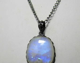 20% Off Moonstone Necklace, Rainbow Moonstone OXIDIZED Necklace, Moon Stone Necklace, Moonstone Jewelry