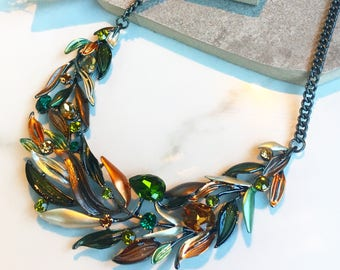 Statement Bib Necklace, Enamel Crystal Necklace, Green & Copper Leaf Necklace, Statement Leaves Necklace, Colorful Necklace, Chunky Necklace