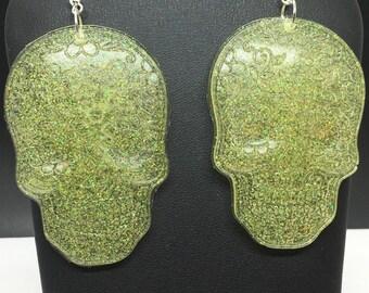 Gold glitter sugar skull earrings