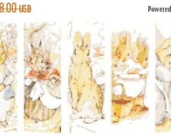 "beatrix potter pattern bunny characters bookmark counted Cross Stitch Pattern embroidery kreuzstitch -17.71"" x 6.78""- L995"