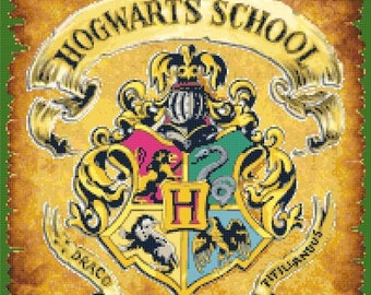"Counted Cross Stitch Pattern needlework, needlepoint, needlecraft - Hogwarts crest Harry Potter - 14.17"" x 18.00"" - L925"