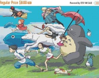 """All characters in the wind modern cross stitch, needlepoint, needlework Wzór graficzny -  Miyazaki - 34.29"""" x 24.64"""" - L585"""