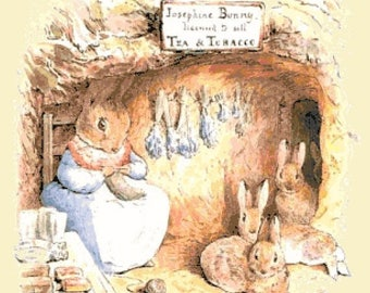 """Rabbit in tobacco shop by potter - counted Cross Stitch Pattern pdf point de croix, needlepoint - 21.64"""" x 25.00""""  - L1366"""