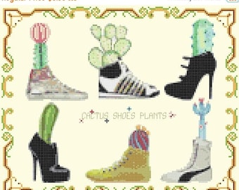 "cactus plants counted Cross Stitch Pattern cactus chart pdf format cactus embroidery - 11.29"" x 9.14""  - L1523"