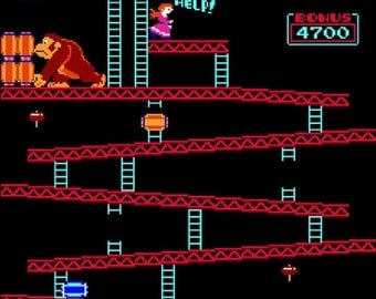 "donkey kong arcade Counted Cross Stitch Pattern chart pdf file needlepoint needlecraft korss - 15.86"" x 18.14"" - L807"