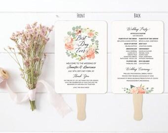 5x7 Peach Cream Wedding Program Fan Style Template Printable Double Sided Wreath Ceremony