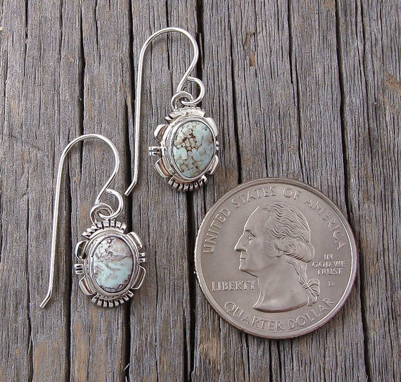 Navajo Dry Creek Turquoise Dangle Silver Earrings, Navajo Dangle Earrings, Dry Creek Earrings, Turquoise Silver Earrings, Women's Earrings