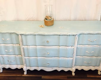 Beautiful French Provinical Dresser Shabby Chic Baby Blue