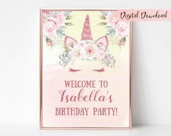 Unicorn Party Sign - Custom Unicorn Sign - Unicorn Welcome Sign - Unicorn Birthday Sign - Printable Unicorn - Digital Unicorn Sign
