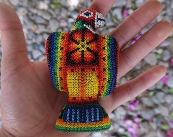EAGLE MINI carved wood handmade beaded by mexican Huichol artesans