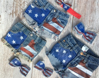 Fourth of July girls, American flag shorts, My first Fourth of July