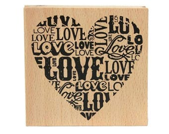 scrapbooking stamp LOVE heart wood