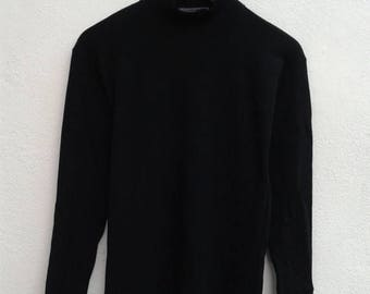 1000 ON SALE ISSEY Miyake Long Sleeve Jumper Avant Garde Vintage 80s Shirt Plain Black T-Shirt Size M