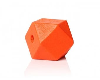 orange 10 polygons painted wooden beads 20mm