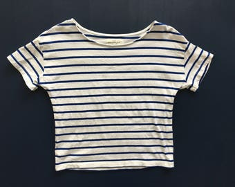 White & Blue Stripe Short Sleeve Cotton Top Women's M