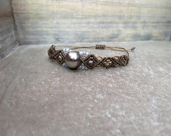 Taupe Bracelet with Silver Button