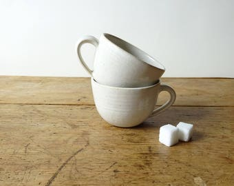 Pair of Espresso Cups - Handmade ceramic set of two rustic white espresso cups - Pair of small coffee cups - Pottery