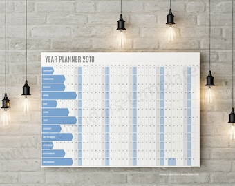Year Planner. Printable Wall Planner Calendar Agenda for 2018 year - KP-W5