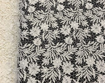 """Off White Camellia Guipure French Venice Lace Embroidery 52"""" inches wide many colors"""