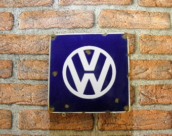 Volkswagen Emblem Porcelain Enamel Tin Sign Vintage 7.9 in x 7.9 in VW GARAGE Man Cave, Wall Decor, Gift for Him, zografa