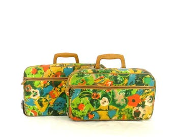 Vintage Bantam Travelware Luggage Set Retro 1960's Mod Suitcases Two Piece Floral Canvas & Leather Travel Bags Flower Power Luggage