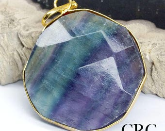 Gold Plated Faceted Square Fluorite Pendant (FC28DG)