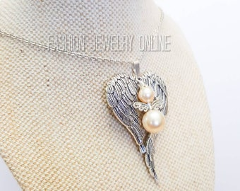 Large Angel Wing necklace, White angel pendant, Long necklace, Leather choker, Pearl pendant Gifts for her Stocking fillers Under 20