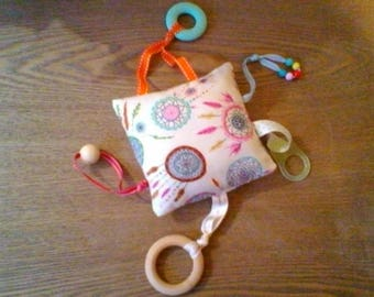 Quiet and teething rattle toy. dream catcher. multi activites.attache pacifier.