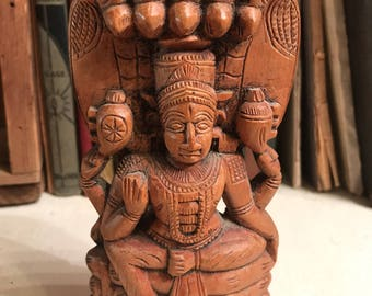 Vintage Hindu Wood Carving of Male Deity Handmade in India 1900s 1920s Krishna Vishnu Shiva Sacred Hindu Art God Goddess Indian Deity Holy