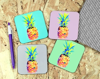 Pineapple coaster - pineapple print - pineapples - coasters - wooden coasters
