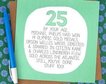 25th Birthday Card - Funny Card - funny 25th card - funny birthday card - birthday card for a friend